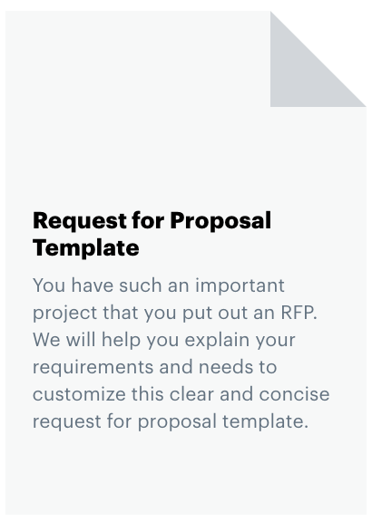 """This is a thumbnail image of a document icon, with text on it that says"""" Request for Proposal Template. You have such an important project that you put out an RFP. We will help you explain your requirements and needs to customize this clear and concise request for proposal template."""
