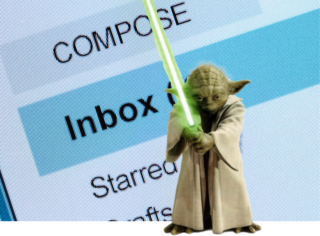 """Photo illustration with a cutout of Yoda, the legendary Jedi Master, with his light saber drawn, against the background of a computer screen showing an email inbox closeup with the words """"COMPOSE"""" and """"Inbox"""" and """"Starred"""" prominent."""