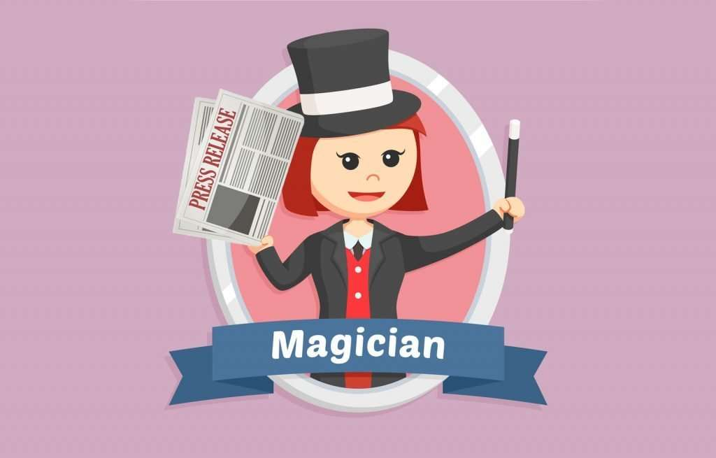 """Illustration of cute woman character waving a wand and holding a document that says """"Press Release."""" The illustration of the woman has a label underneath that reads, """"Magician."""""""