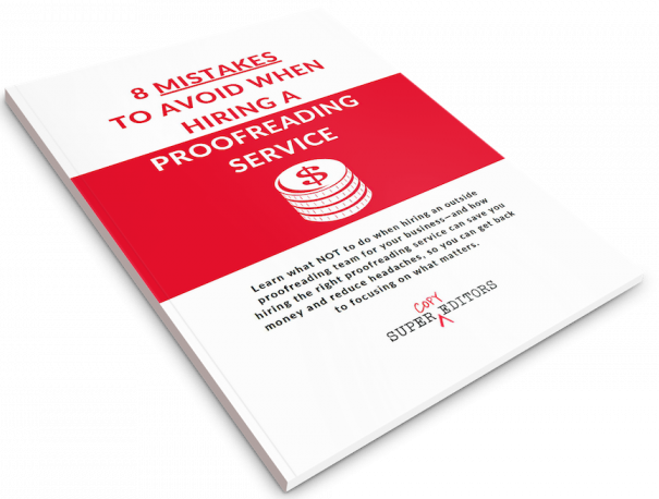 Image of the cover of our free guide: 8 Mistakes to Avoid When Hiring a Proofreading Service.